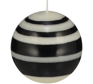 SMALL STRIPED BALL CANDLES - Jet Black & Pearl White