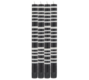 STRIPED JET BLACK & PEARL WHITE CANDLES