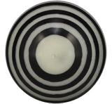 LARGE STRIPED BALL CANDLE - Jet Black & Pearl White