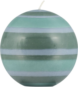 LARGE STRIPED BALL CANDLE - Beryl Green, Bokhara Green & Moonstone Grey
