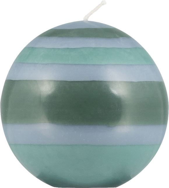 SMALL STRIPED BALL CANDLE - Beryl Green, Bokhara Green & Moonstone Grey