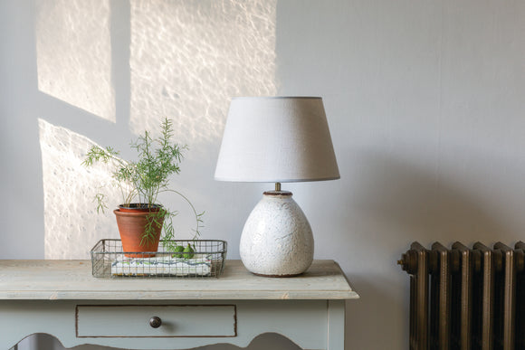 STONEWARE PRIMA LAMP with GREY SHADE