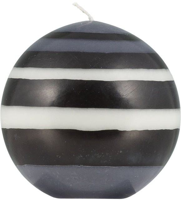 LARGE STRIPED BALL CANDLE - Jet Black, Pearl White & Dove Grey