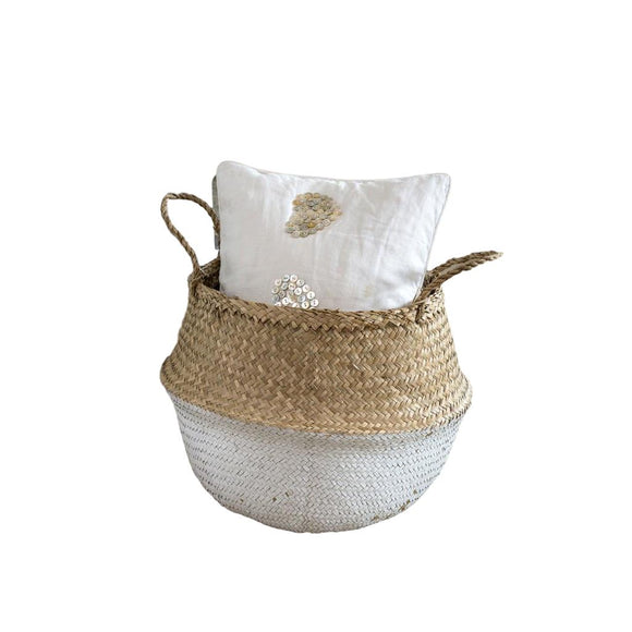 WHITE DIPPED SEAGRASS BASKET