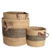 SEAGRASS BASKET with Charcoal Band (set of 3)