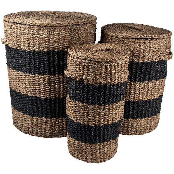 NAVY STRIPED SEAGRASS BASKETS WITH LIDS