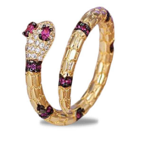 Bague Serpent Rubis l Snake Temple