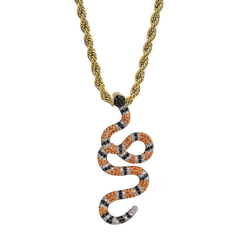 Collier Serpent Couleuvre Corail (Zirconium)