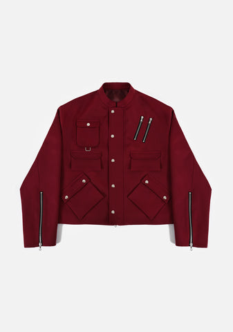 MULTI POCKET BLOUSON (GARNET RED)