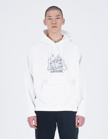 Plastic twin Embroidery Hoodie White