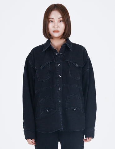 Upside-down Denim Shirt Black