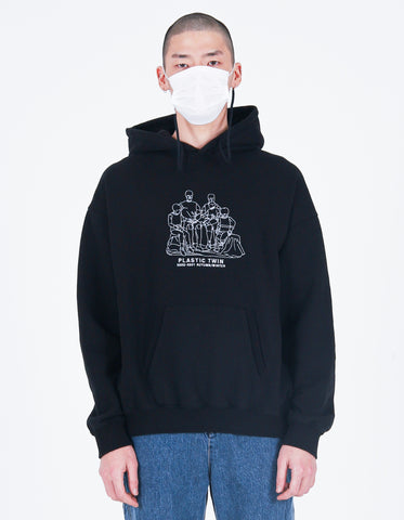 Plastic twin Embroidery Hoodie Black