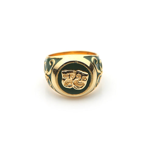 TWO FACE SIGNET RING (DARK GREEN)
