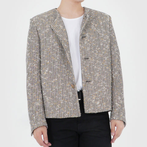 COLLARLESS TWEED JACKET (GOLD TWEED)