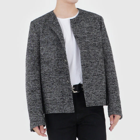 COLLARLESS WOOL JACKET (GRAY&NAVY WOOL)