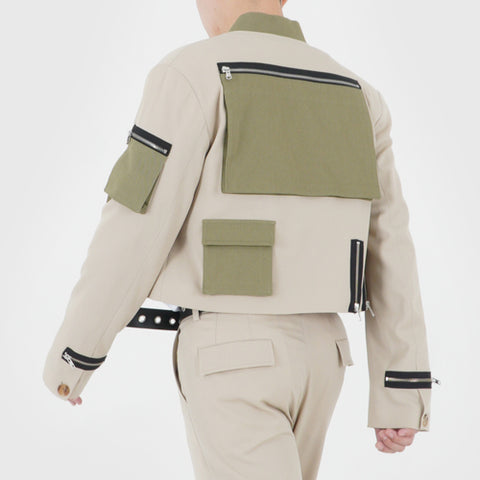 CROPPED TECH BOMBER (LIGHT BEIGE)
