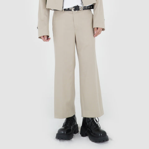 CROPPED WIDE SLACKS (LIGHT BEIGE)