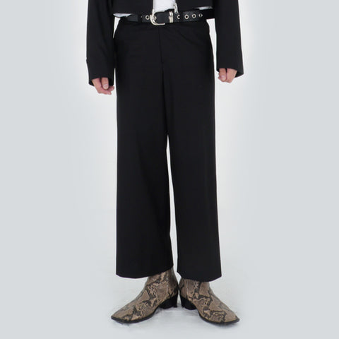 CROPPED WIDE SLACKS (BLACK)