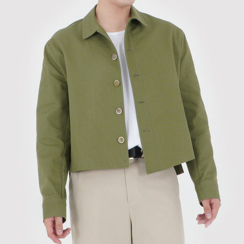 UNBALANCED CROPPED JACKET (KHAKI GREEN)
