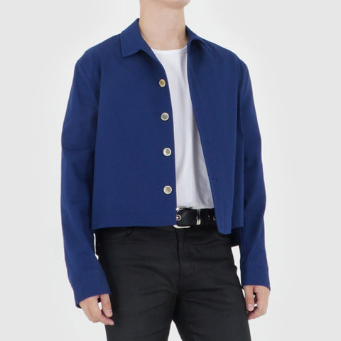 UNBALANCED CROPPED JACKET (NAVY BLUE)
