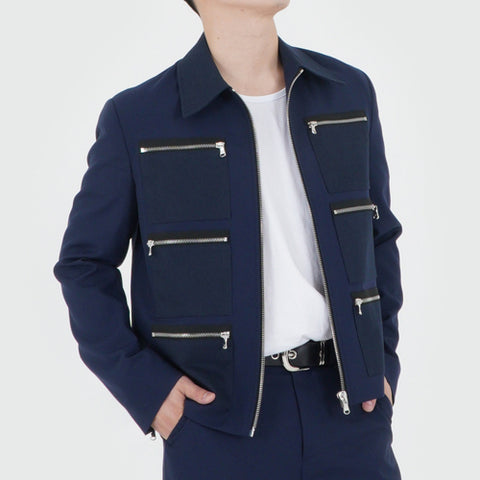 ZIPPER DETAIL 6POCKET JACKET (NAVY)