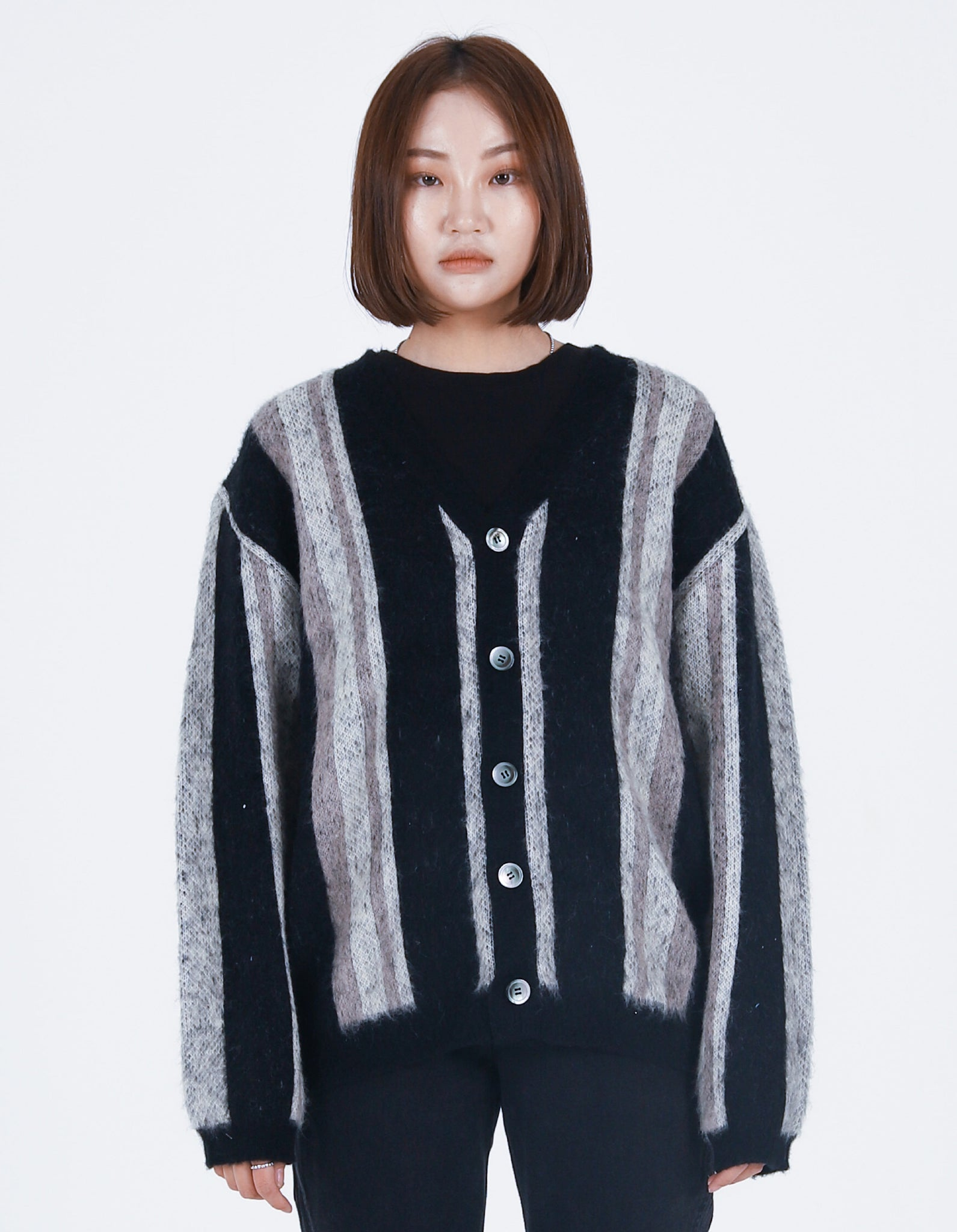 Vertical Striped Cardigan Black