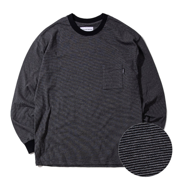 Striped Long Sleeve Pocket T-Shirt