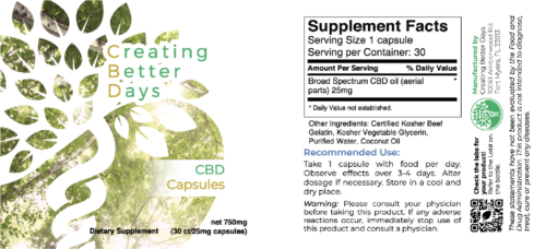 CBD Capsules 750 Mg Supplement Fact Label