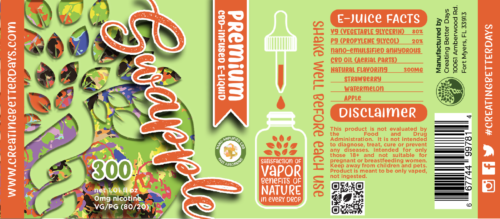 Nano CBD E-Juice Swapple 300MG Label