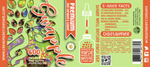 Nano CBD E-Juice Swapple 600MG Label