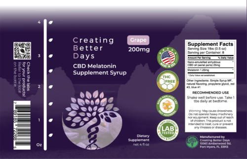 Nano CBD Grape Melatonin Syrup 200mg Label