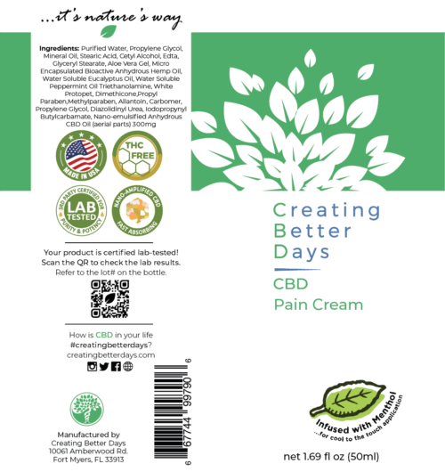 Nano CBD Pain Cream 300MG Label