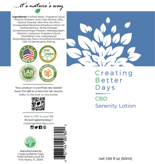 Nano-CBD Serenity Lotion 300MG Label