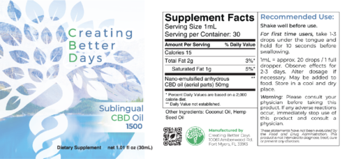 Nano-CBD Sublingual Oil 1500mg Facts