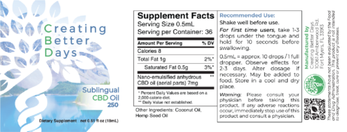 Nano-CBD Sublingual Oil 250mg Facts