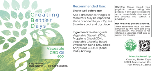 Nano-CBD Vape Oil 600mg Facts