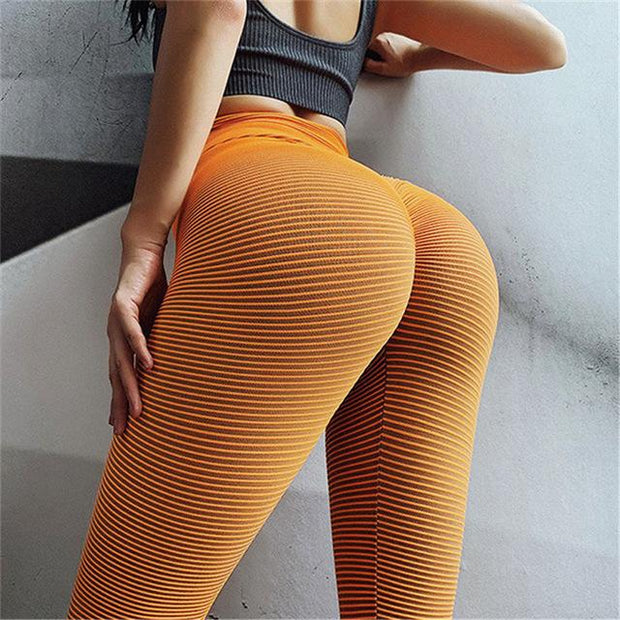 Hi Way Lines Hi Rise Leggings - Bootyful Peach