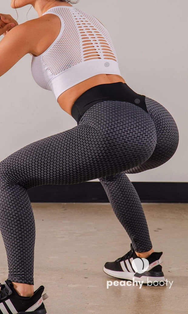 Bubble Butt Black Leggings - Bootyful Peach