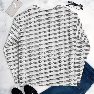 REALLY NICE black & white handwritten all-over crewneck