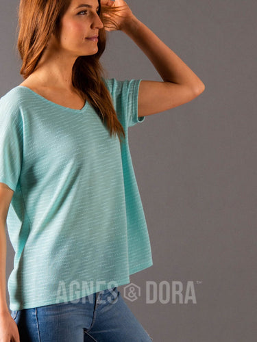 Agnes & Dora™ Canyon Top Aqua Stripe