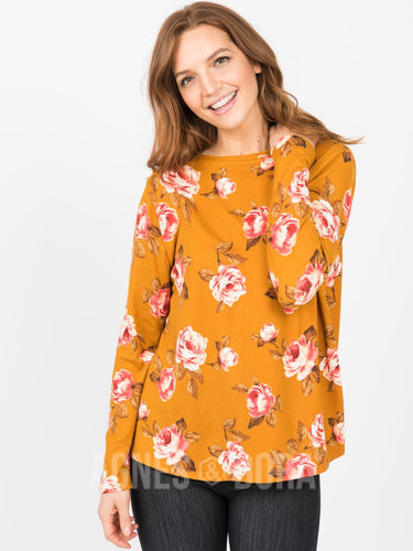 Agnes & Dora™ Cross Over Sweater Mustard/Coral Floral