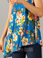 Load image into Gallery viewer, Agnes & Dora™ Asymmetrical Tank Princess Blue Watercolor Floral