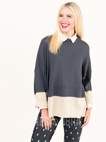 Agnes & Dora™ Boxy Sweater 3/4 Sleeve Gray and Beige