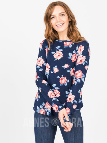 Agnes & Dora™ Cross Over Sweater Navy/Blush Floral