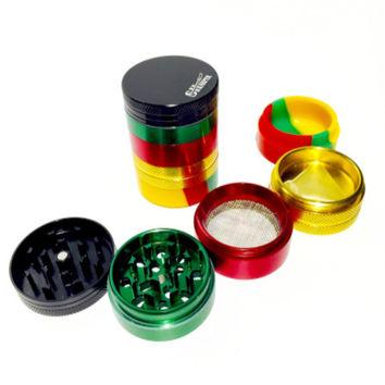 Sharper Herb Grinder w/ Silicone Base Rasta (1 Count) - Nevernaire Smoke shop
