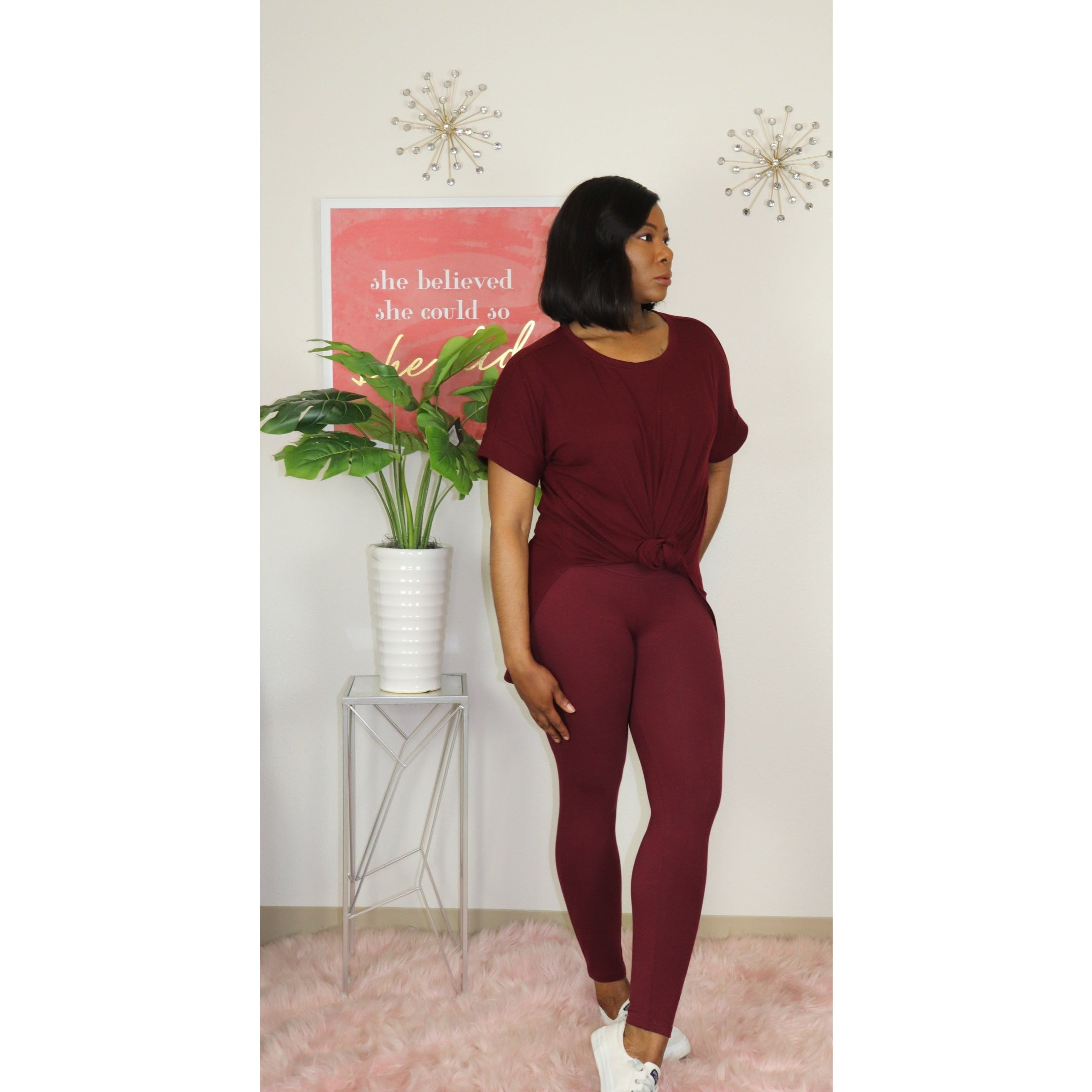 Leggings Loungewear Set (burgundy)