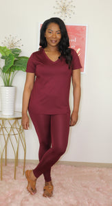 Essential Legging Set I Burgundy