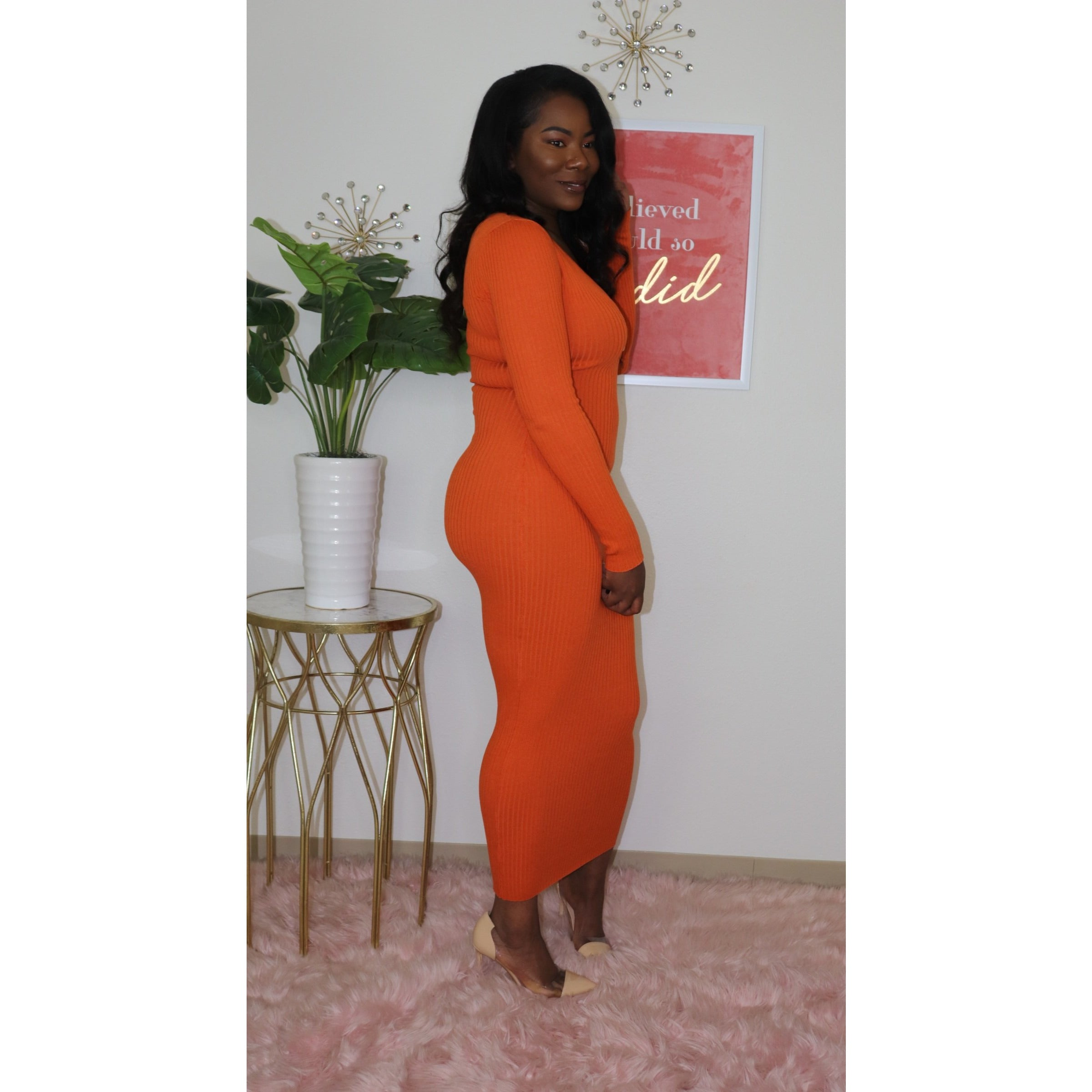 Ribbed Knit Maxi Dress I Orange