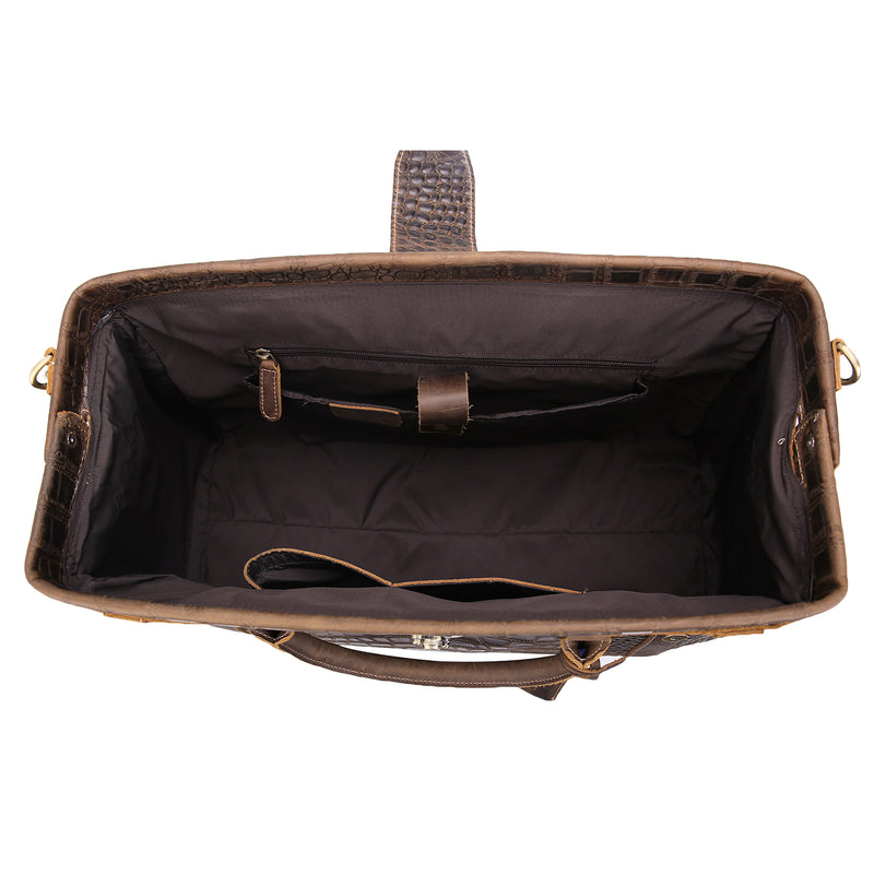 Polare Crocodile Pattern Cowhide Leather Duffle Bag (Inside)