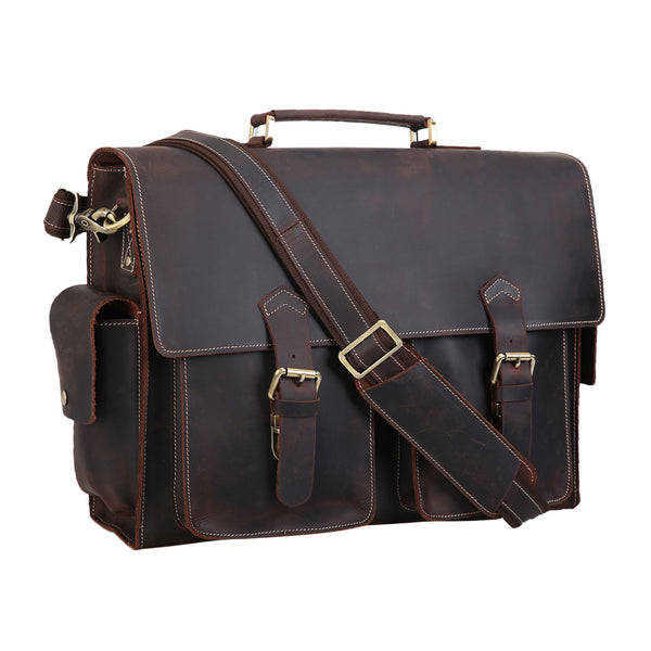 Polare Mens Leather Laptop Briefcase Business Messenger Bag (Dark Brown)
